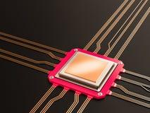 Een bewerker (microchip) verbond het ontvangen van en het verzenden van informatie onderling Concept technologie en toekomst Cpu  Royalty-vrije Stock Foto