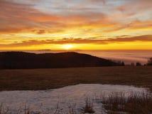 Een bewolkte dageraad boven inversie en heuvels. De donkere pieken van bomen maken contrast met gele en oranje wolken op de hemel, Royalty-vrije Stock Foto's