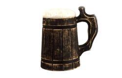 Een biermok op een witte achtergrond Stock Fotografie
