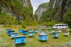 Een bijenstal in een bergkloof Heel wat kleurrijke bijenkorven tegen de achtergrond van bergen royalty-vrije stock afbeeldingen
