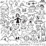 Een binnen getrokken reeks van unieke hand, kind zoals tekeningen Royalty-vrije Stock Afbeelding
