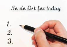Een blad van document voor een mens met de woorden: Om lijst voor vandaag te doen Planning van zaken voor de dag Het concept gest Royalty-vrije Stock Afbeelding