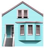 Een blauw concreet huis met een trede stock illustratie