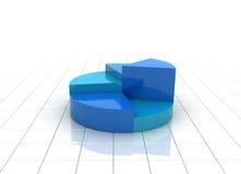 Een blauwe 3d illustratie van de cirkeldiagramgrafiek Stock Foto's