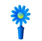 Een blauwe bloem met het gele centrum Stock Foto