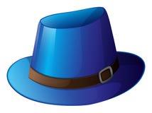 Een blauwe hoed met een bruine riem Royalty-vrije Stock Foto