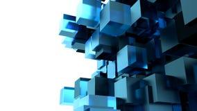 Een Blauwe Kubussen Abstracte Achtergrond Stock Afbeeldingen