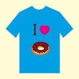 Een blauwe t-shirt met beeld van doughnutdoughnut en cupcake Stock Afbeelding