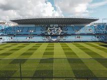 Een blik binnen het voetbalstadion van Malaga stock foto