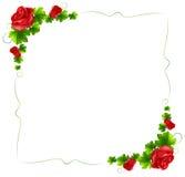 Een bloemengrens met rode rozen Stock Foto
