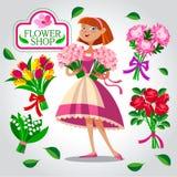 Een bloemistmeisje Beeldverhaal polair met harten Stock Foto