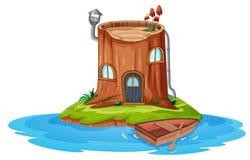 Een blokhuis op klein eiland stock illustratie