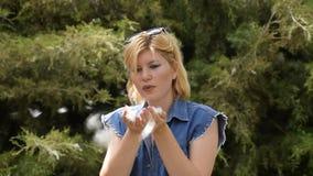 Een blonde vrouw die een populierpluis blazen Populierpluis in de handen van een meisje stock footage