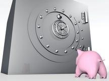 Piggy het varken let op een brandkast Royalty-vrije Stock Afbeelding