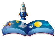 Een boek die de planeet en de luchtschepen tonen stock illustratie