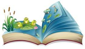 Een boek met een beeld van de kikkers en de vissen in de vijver royalty-vrije illustratie