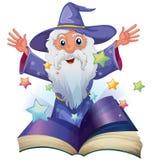 Een boek met een beeld van een oude mens met vele sterren vector illustratie