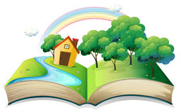 Een boek met een verhaal van een huis bij het bos stock illustratie