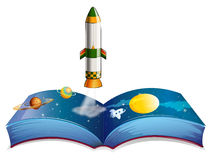 Een boek met planeten en een raket stock illustratie