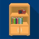 Een boekenkast met planken en een radioontvanger Meubilair en binnenlands enig pictogram in vlak stijl Isometrisch vectorsymbool Stock Foto's