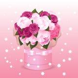Een boeket van bloemen in een giftdoos Vectorillustratie voor uw groeten Stock Foto's
