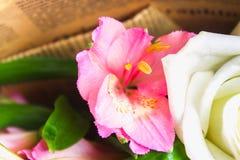 Een boeket van bloemen van een lelie, een gerbera, witte rozen en een alstroemeria op een witte houten lijst Een vakantie, een gi Royalty-vrije Stock Afbeeldingen