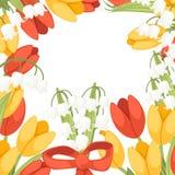 Een boeket van bloemen met een rood lint De lente rode en gele tulp met Convallaria-majalis Lilly van de vallei Groene Bloem stock illustratie