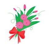 Een boeket van bloemen op een witte achtergrond Stock Afbeeldingen