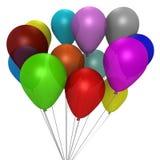 Een boeket van kleurrijke ballons - een 3d beeld Royalty-vrije Stock Foto