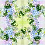 Een boeket van madeliefje bloeit - bloemen, bladeren op waterverfachtergrond vector illustratie