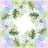Een boeket van madeliefje bloeit - bloemen, bladeren op waterverfachtergrond Collage van bloemen, bladeren stock illustratie