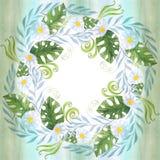 Een boeket van madeliefje bloeit - bloemen, bladeren op waterverfachtergrond stock illustratie