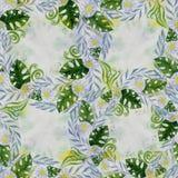 Een boeket van madeliefje bloeit - bloemen, bladeren op waterverfachtergrond Collage van bloemen, stock illustratie