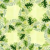 Een boeket van madeliefje bloeit - bloemen, bladeren op waterverfachtergrond Collage van bloemen, bladeren vector illustratie