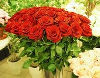Een boeket van mooie rode rozen in de serre stock foto