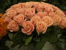 Een boeket van mooie roze rozen in de bloemen winkelt royalty-vrije stock afbeelding