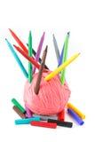 Een boeket van pennen en een rol van draad Royalty-vrije Stock Fotografie