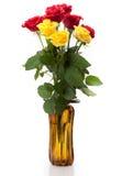 Een boeket van rode en gele rozen Stock Afbeeldingen