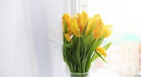 Een boeket van rode tulpen in een vaas op de vensterbank Een gift voor Royalty-vrije Stock Afbeeldingen