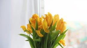 Een boeket van rode tulpen in een vaas op de vensterbank Een gift voor Stock Fotografie