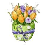 Een boeket van wildflowers Geïsoleerde watercolor Stock Foto's