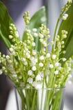 Een boeket van witte bloemen van lelietje-van-dalen met groene bladeren die zich in een glas op de vensterbank bevinden Stock Afbeeldingen