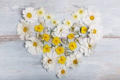 Een boeket van witte bloemencosmea of kosmos met lint op witte raad Tuin gele bloemen over met de hand gemaakte houten lijstbackg Stock Afbeeldingen