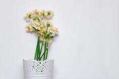 Een boeket van witte gele narcissen in een mooi wit vaasoñ wit ' Stock Foto