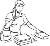 In een boekhandel stock illustratie