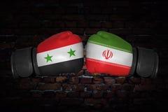 Een bokswedstrijd tussen de twee landen Stock Foto