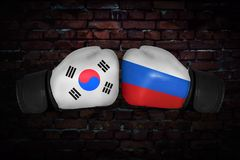 Een bokswedstrijd tussen de V.S. en Rusland Stock Foto's