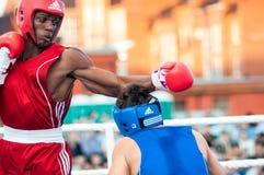 Een bokswedstrijd tussen de winnaar van het Wereldbeker 2014 jaar in het in dozen doen Yordan Hernandes, Cuba, en Daniel Khlebnik Stock Foto's