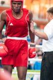 Een bokswedstrijd tussen de winnaar van het Wereldbeker 2014 jaar in het in dozen doen Yordan Hernandes, Cuba, en Daniel Khlebnik Royalty-vrije Stock Fotografie