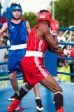 Een bokswedstrijd tussen de winnaar van het Wereldbeker 2014 jaar in het in dozen doen Yordan Hernandes, Cuba, en Daniel Khlebnik Stock Afbeelding